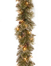 National Tree Company 9ft Glittery Bristle Pine Garland With Clear Lights