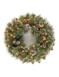 National Tree Company 24 Inch Glittery Pine Wreath With Clear Lights