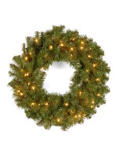 National Tree Company 24 Inch Kincaid Spruce Wreath With Clear Lights