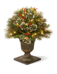 National Tree Company 26 Inch Wintry Pine Porch Bush With Clear Lights