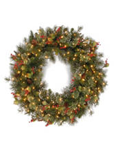National Tree Company 36 Inch Wintry Pine Wreath With Clear Lights