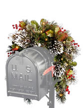 National Tree Company 36 Inch Wintry Pine Mailbox Swag With White LED Lights