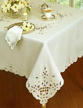 Homewear Solid Color Embroidered Floral Table Cloth