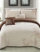 Home & Main 5-pc. Brown & Cream Clearmont Embroidered Comforter Set