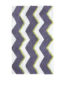 Jessica Simpson Dusk Purple Zigzag Multi Stripe Bath Rug