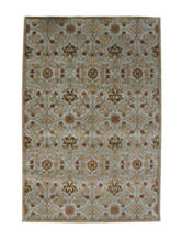 Alliyah Rugs Pearl Blue Traditional Print New Zealand Blended Wool Rug