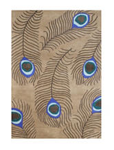 Alliyah Rugs Peacock Feather Print New Zealand Blended Wool Rug