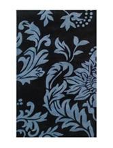 Alliyah Rugs Blue Damask Print New Zealand Blended Wool Rug