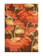 Alliyah Rugs Red Sunflower Print New Zealand Blended Wool Rug