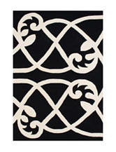 Alliyah Rugs Connected Damask Print New Zealand Blended Wool Rug
