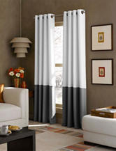 Curtain Works Kendall Color Block Grommet Single Curtain Panel - White