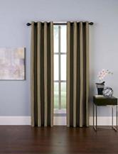 Curtain Works Malta Faux Silk Room Darkening Grommet Single Curtain Panel - Bronze