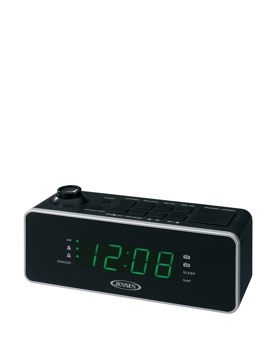 jensen dual alarm projection clock radio stage stores. Black Bedroom Furniture Sets. Home Design Ideas