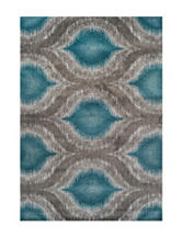 Dalyn Rugs Modern Greys Collection Teal Large Ikat Print Area Rug