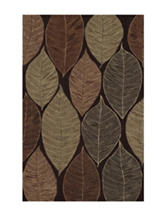 Dalyn Rugs Studio Plush Collection Chocolate Brown Large Leaf Print Area Rug