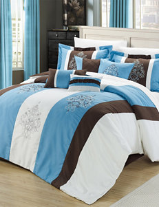 Chic Home Design 8-pc. Vicky Blue & Brown Embroidered Microfiber Comforter Set