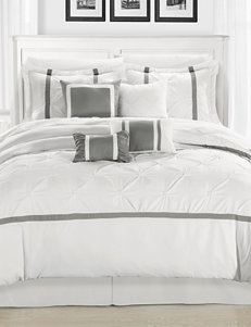 Chic Home Design 8-pc. Vermont White & Silver Brushed Microfiber Comforter Set