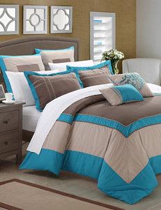 Chic Home Design 7-pc.  Ballroom Teal & Gray Microfiber Comforter Set