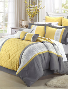 Chic Home Design 8-pc. Livingston Yellow & Gray Embroidered Microfiber Comforter Set