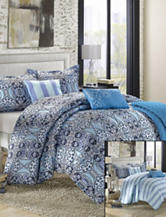 Chic Home Design 6-pc. Lynwood Blue Luxury Reversible Microfiber Bed in a Bag
