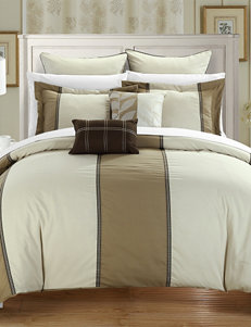 Chic Home Design 7-pc. Frontier Green & Tan Microfiber Comforter Set
