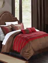 Chic Home Design 7-pc. Luxury Brown & Burgundy Microfiber Comforter Set