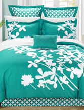 Chic Home Design 7-pc. Iris Turquoise & White Brushed Microfiber Bed in a Bag