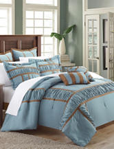 Chic Home Design 7-pc. Tuscan Blue & Brown Brushed Microfiber Comforter Set