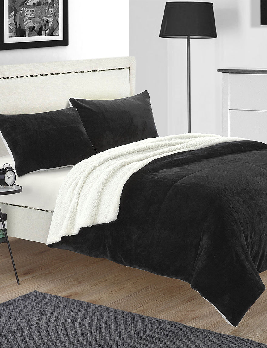 chic home design evie black 3 pc plush microsuede sherpa chic home design 7 pc legend blue microfiber comforter