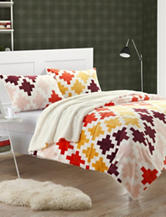 Chic Home Design 3-pc. Orange Microsuede Printed Sherpa Blanket Set