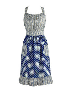 Design Imports Blue & White Mixed Print Vintage Apron
