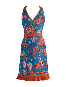 Design Imports Blue & Orange Floral Print Vintage Apron
