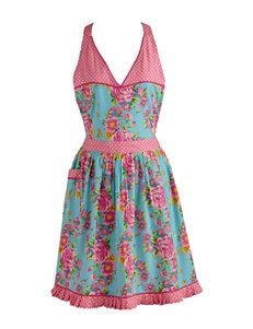 Design Imports Blue & Pink Mixed Print Vintage Apron