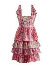 Design Imports Pink Floral Print Vintage Apron