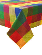 Design Imports Palette Checker Indian Summer Tablecloth