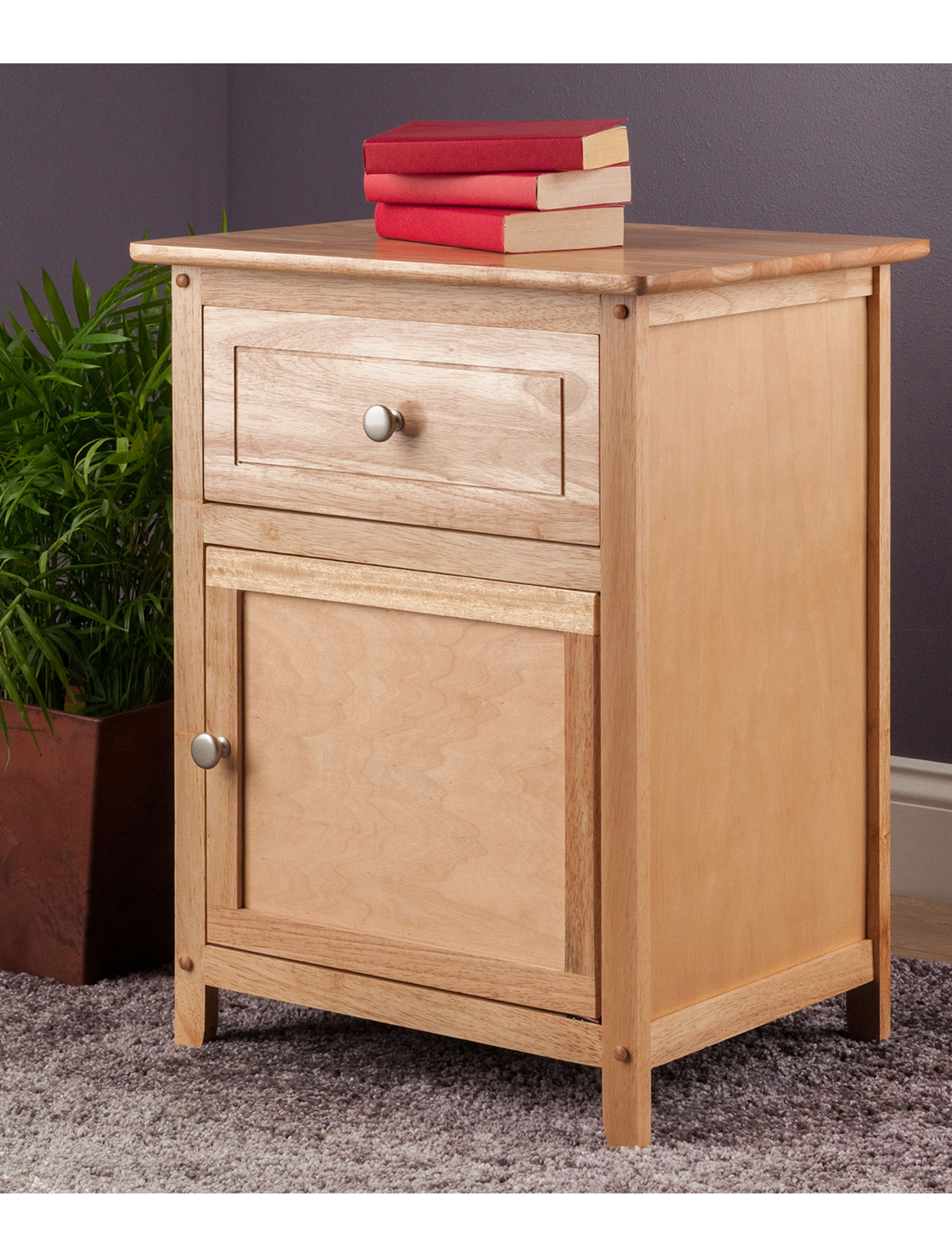 Wood Night Stand ~ Winsome natural wood finish night stand stage stores