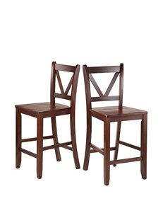 Winsome Set of 2 V-Back Counter Stools
