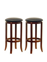 Winsome Set of 2 Faux Leather 30 Inch Round Swivel Stools