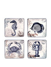 Certified International 4-pc. Coastal Postcards Dessert Plate Set
