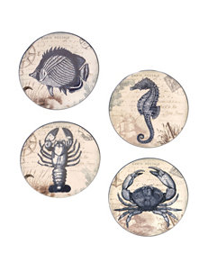 Certified International 4-pc. Coastal Postcards Canapé Plate Set