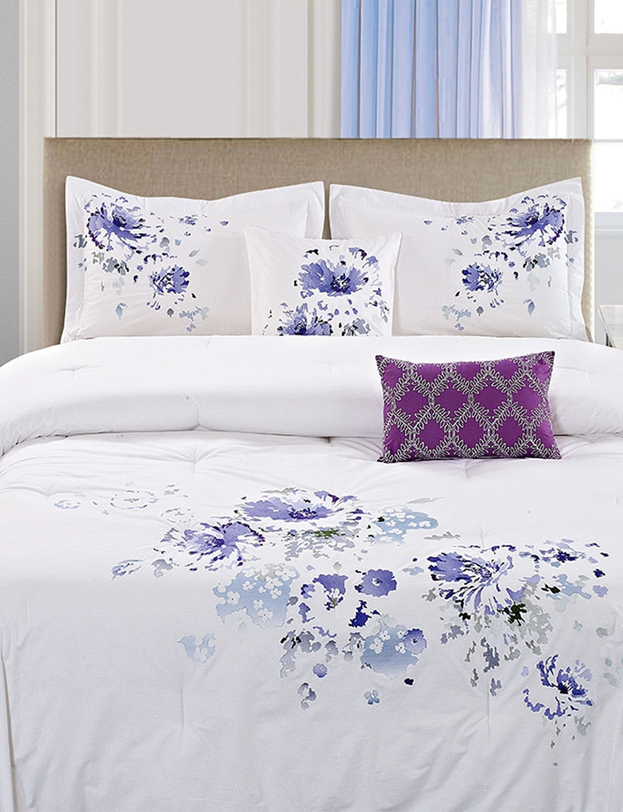 Home Fashions International White / Purple Comforters & Comforter Sets