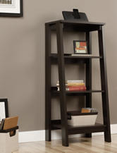 Sauder Trestle Jamocha Wood 3-Shelf Bookcase