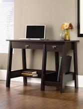Sauder Trestle Jamocha Wood Desk