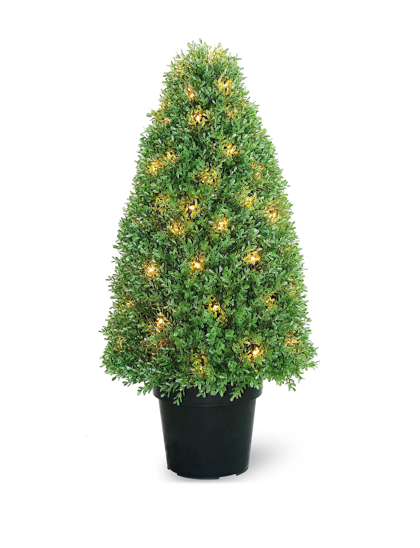 Outdoor Decor Company National Tree Company 36 Inch Pre Lit Boxwood Tree With Pot