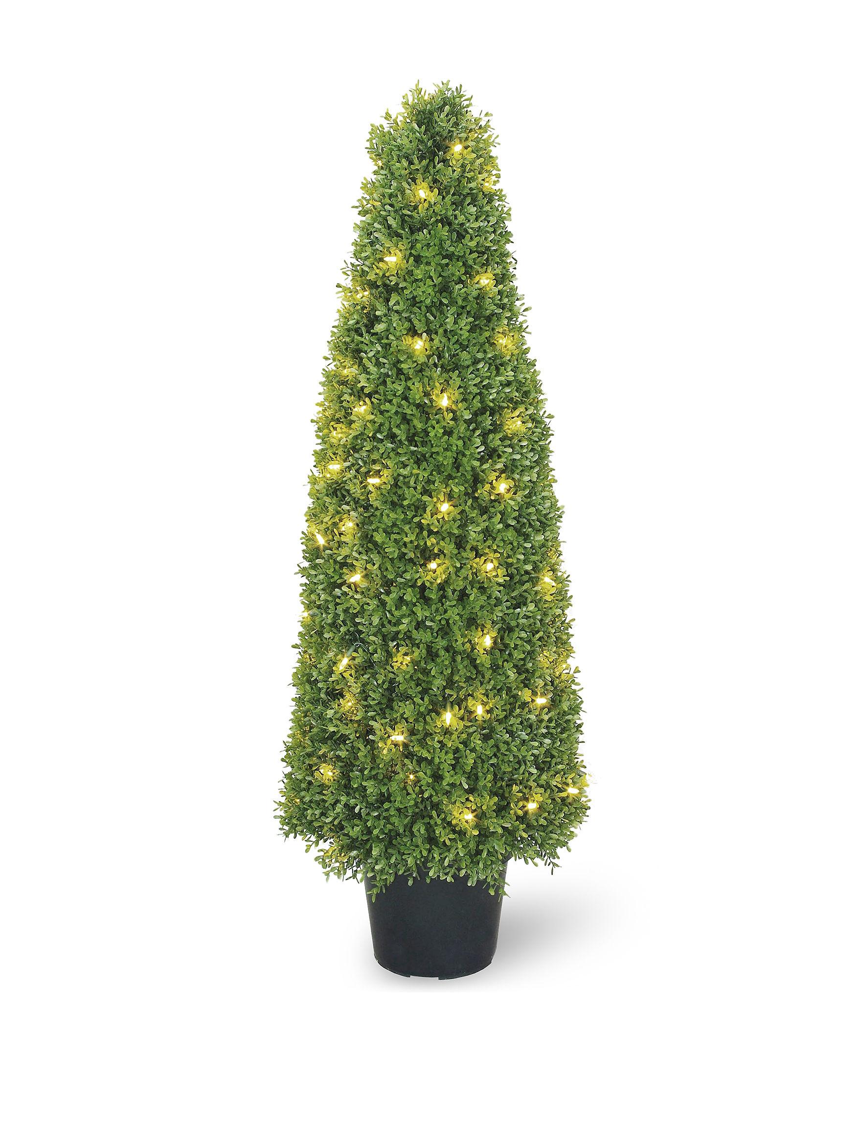 Outdoor Decor Company National Tree Company 48 Inch Pre Lit Boxwood Tree With Pot