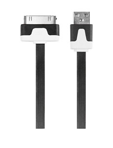 iEssentials Black Flat 3.3 ft. 30 Pin Charge & Sync Cable