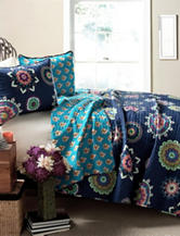 Lush Decor 3-pc. Adrianne Navy Paisley Quilt Set