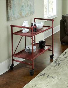 Cosco Ruby Red Metal Slat Folding Serving Cart