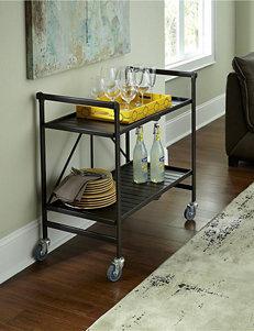 Cosco Brown Metal Slate Folding Serving Cart