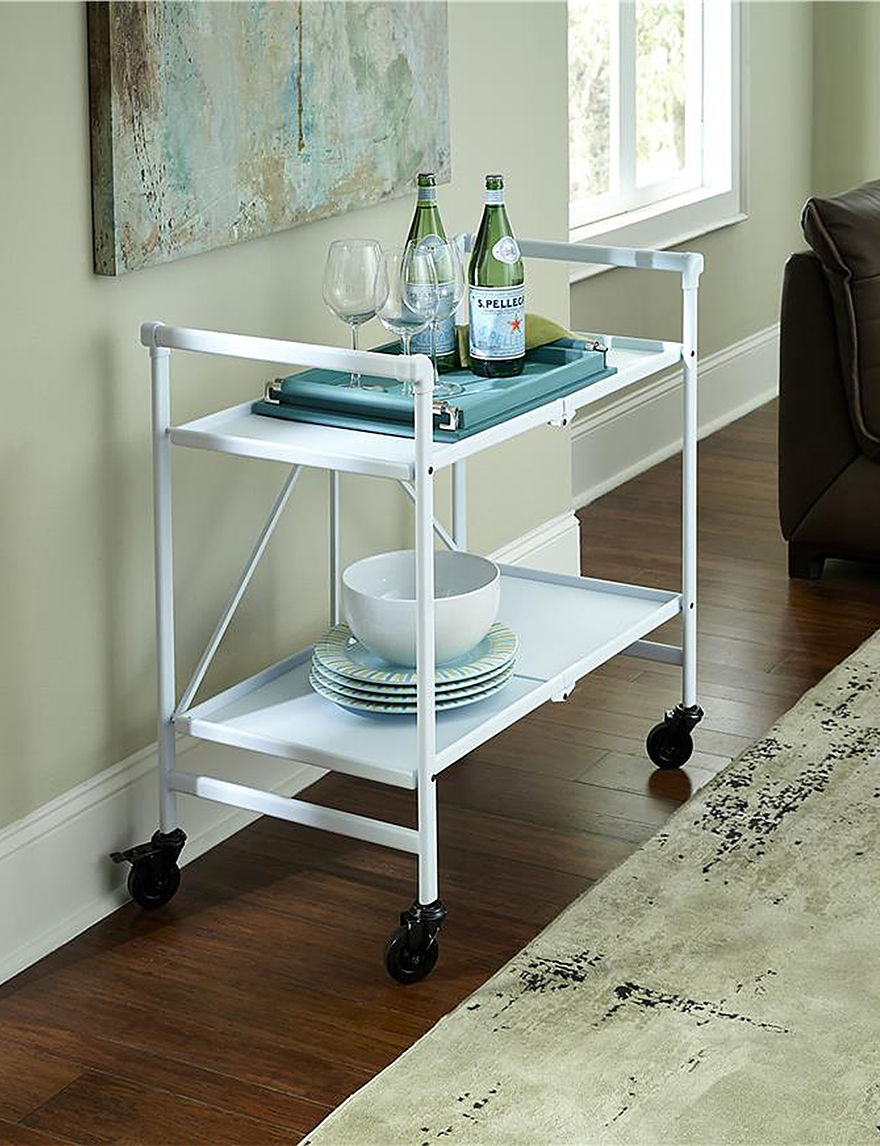 White Sheet Metal : Cosco white sheet metal shelf folding cart stage stores